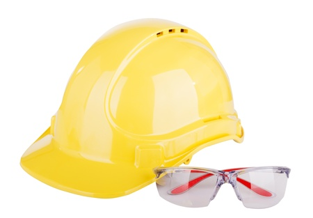 protective helmets: Personal safety equipment or PPE - personal protective equipment - with a hard hat and safety glasses isolated on white Stock Photo