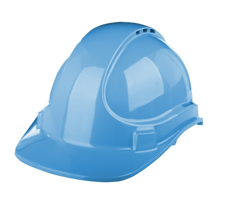 Hard hat used on construction site in blue colour isolated on white photo