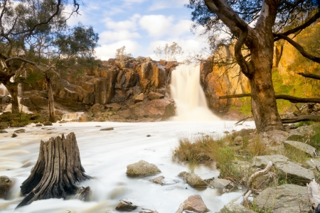 time lapse: Beautiful Nigretta Falls waterfall in Western Victoria, Australia with high flow during winter time in time-lapse Stock Photo