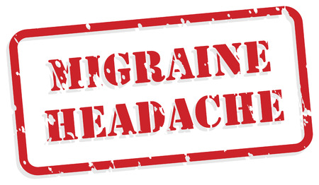 traumatic: Migraine headache red rubber stamp vector for mental health concept