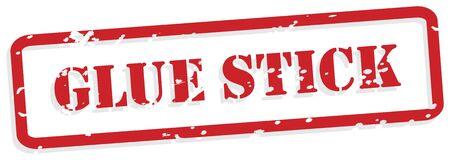 glued: Glue stick red rubber stamp