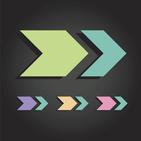 arrowheads: Modern flat design vector arrows in various colors