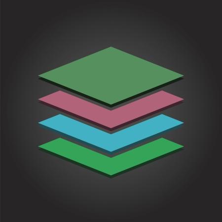 jerarquia: Diseño plano vector gráfico de pila Moderno en varios colores