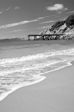 elliot: Horseshoe Bay near Victor Harbour in South Australia is perfect white sand and clear waters in stunning black and white