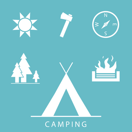 Camping icons set in simple, flat design style Vector