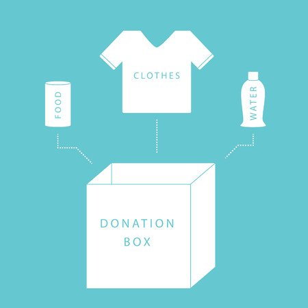 charity drive: Donate concept of a donation box with food, water and clothing in simple, flat vector style