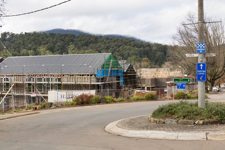 devastating: MARYSVILLE, AUSTRALIA - JULY 7, 2014 - Marysville rebuilds after the devastating Black Saturday bushfires that destoyed much of the town and killed 173 people across Victoria in February 2009  Editorial