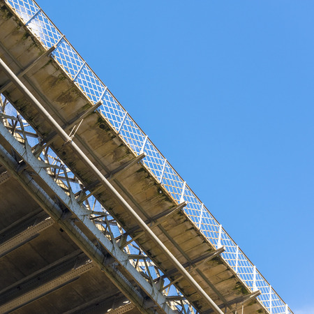 structural: Abstract of the underside of a bridge spanning the Murray River Stock Photo