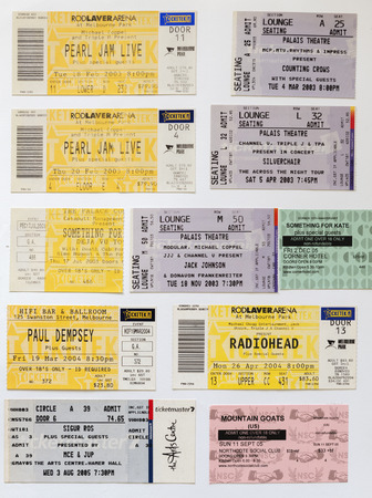 memorabilia: SOUTH AUSTRALIA, AUSTRALIA - AUGUST 8, 2014 - Concert tickets from world famous bands including Radiohead and Pearl Jam