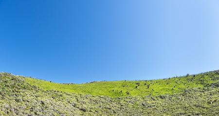 grassy knoll: Green hillside under a bright blue sky