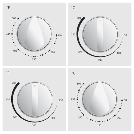 Oven dial vector in 4 different styles with celcius and fahrenheit temperature measurements Vector