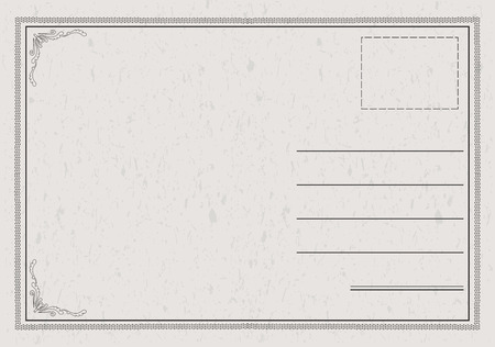 postcard back: Postcard in a classic, elegant style with paper texture Illustration