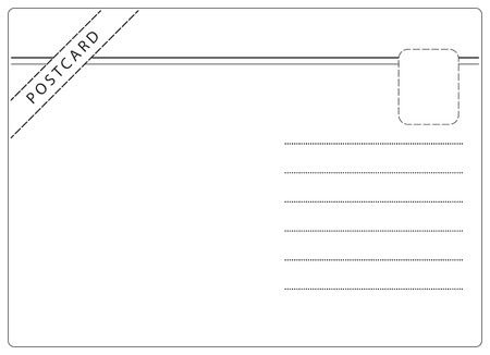 postcard back: Postcard vector in simple black and white style with room for text
