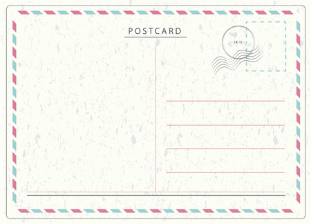 old postcards: Travel postcard vector in air mail style with paper texture and rubber stamps