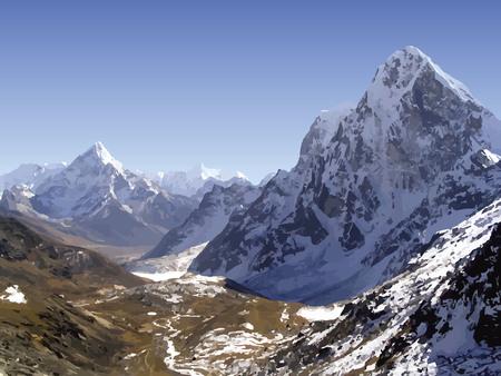 Besneeuwde bergtoppen in de Himalaya, Nepal in vector Stock Illustratie