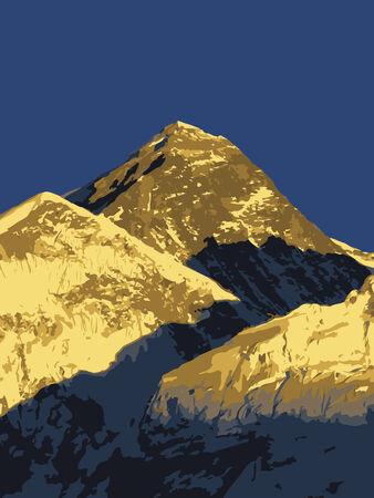 himalaya: Mount Everest vector, worlds highest mountain, in the Himalaya, Nepal