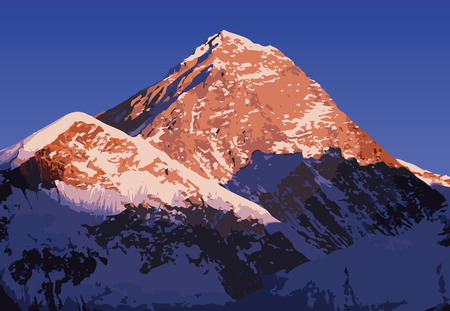 nepal: Mount Everest vector, worlds highest mountain, in the Himalaya, Nepal