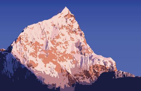 himalaya: Massive mountains vector in the Nepal Himalaya mountain range Illustration