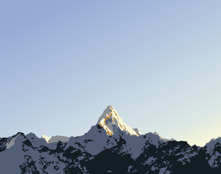 Snow capped mountain peak Ama Dablam in the Himalaya, Nepal in vector style with copy space in sky