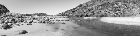 grayscale: Deep Creek Conservation Park on the Fleurieu Peninsula in South Australia in panoramic format in black and white