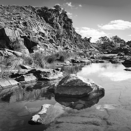 green white: A beautiful oasis in rural outback Australia in black and white Stock Photo