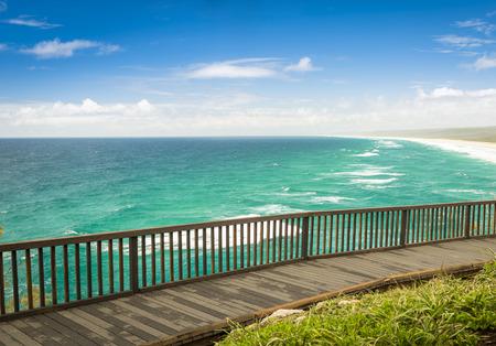 lookout: Australian beach lookout on summers day on Stradbroke Island, Queensland Stock Photo