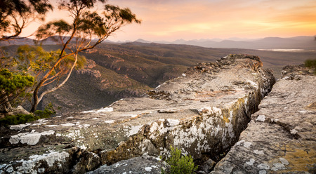 cliff top: Cliff top views at sunset in the Grampians National Park, Australia Stock Photo