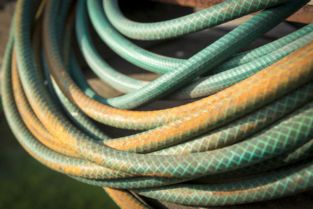 water stained: Old garden hose curled up in a pile and stained by years in the weather