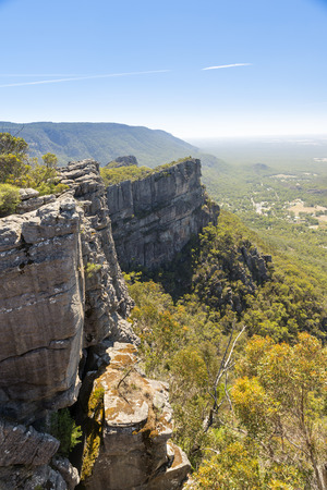 pinnacle: View from the Pinnacle of Halls Gap in the Grampians National Park, Victoria, Australia Stock Photo