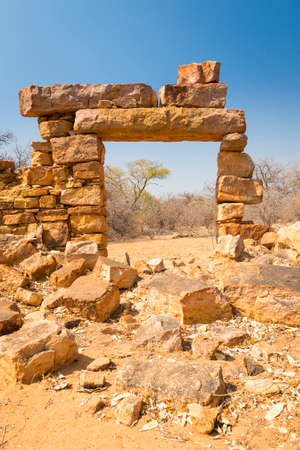 Old Palapye ruins built from stone in rural Botswana, Africa