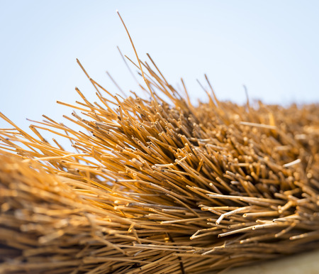 thatched: Typical thatched roof construction in detail found in Africa Stock Photo