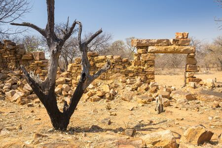 ancient prison: Old Palapye ruins built from stone in rural Botswana, Africa