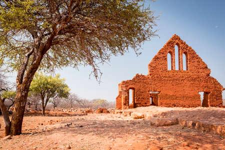 church ruins: Old Palapye church ruins built from baked earth bricks in rural Botswana, Africa