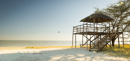 hut: Wooden beach hut with thatched roof looks out over the Makgadikgadi Pan in Botswana, Africa