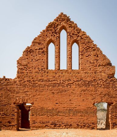old church: Old Palapye church ruins built from baked earth bricks in rural Botswana, Africa
