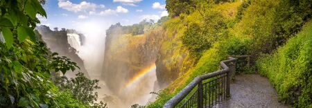 zambezi: Victoria Falls waterfall in Africa, between Zambia and Zimbabwe, one of the seven wonders of the world