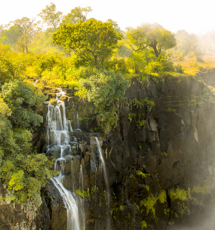 Small detail section of Victoria Falls waterfall in Africa, between Zambia and Zimbabwe, one of the seven wonders of the world