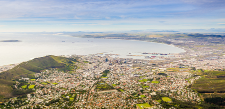 capetown: Panoramic view of Cape Town from Table Mountain in South Africa