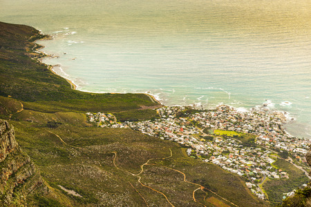 foothills: Camps Bay at the foothills of the Twelve Apostles in Cape Town, South Africa