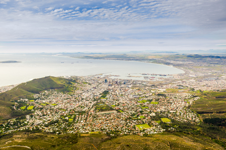 capetown: Aerial view of Cape Town from Table Mountain in South Africa