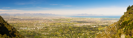 Panoramic view of False Bay from Table Mountain in Cape Town, South Africa Stock Photo