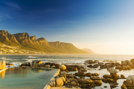 table mountain national park: Twelve Apostles in South Africa at Sunset