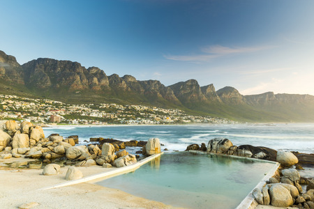 table mountain national park: Camps Bay, Cape Town at dusk