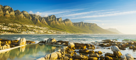 table mountain national park: Panorama of Camps Bay in Cape Town, South Africa