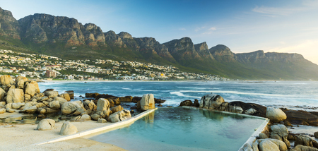 south africa: Panorama of Camps Bay in South Africa at Dusk