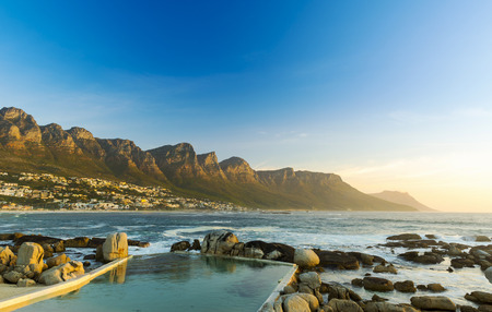 Twelve Apostles in South Africa at Sunset Stock Photo - 70804897