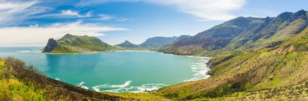 Panorama van Hout Bay in de buurt van Cape Town, Zuid-Afrika Stockfoto