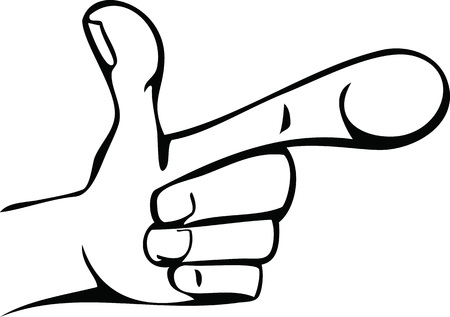 Line Art Hand : Cartoon line drawing of human hand showing fingers royalty free