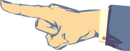 bocetos de personas: Mano y dedo bosquejados que señalan con la chaqueta del juego y la manga de la camisa. Vectores