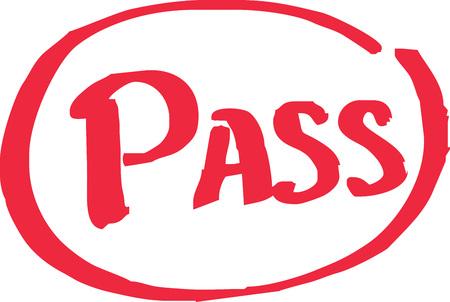Pass exam grade written in red vector.
